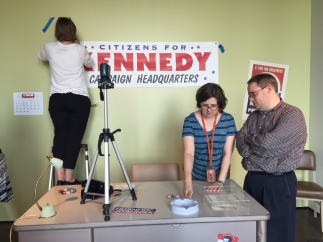"Curatorial staffers create ""Kennedy Campaign Headquarters."""