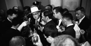 Journalists question Jack Ruby's first attorney, Tom Howard, following Ruby's arrest for the murder of Lee Harvey Oswald. Dallas Times Herald Collection/The Sixth Floor Museum at Dealey Plaza