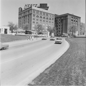 Elm street, where President John F. Kennedy was assassinated, in front of the Texas School Book Depository, 1963.