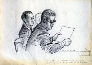 KRLD-TV art director Charles Fisher made this sketch of Jack Ruby and attorney Joe Tonahill during the 1964 Ruby trial. Charles Fisher Collection/The Sixth Floor Museum at Dealey Plaza