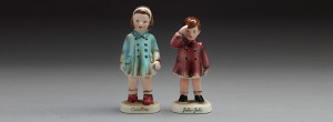 Porcelain figurines of Carolyn and John Kennedy Jr. from the collections of The Sixth Floor Museum.