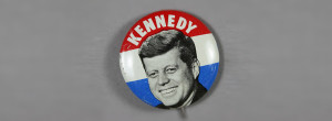 A Kennedy pin from the collections of the Sixth Floor Museum.