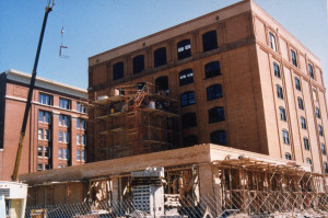 Construction of the exterior elevator shaft at the Sixth Floor Museum, 1988