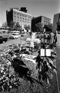 Flowers in Dealey Plaza left by JFK mourners - November 25, 1963