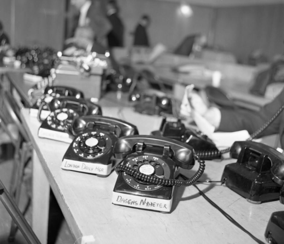 Some of the thirty telephones installed in the Ruby trial press room. The Dallas Morning News Collection/The Sixth Floor Museum at Dealey Plaza Donated by The Dallas Morning News in the interest of preserving history
