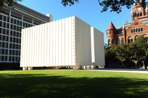 Side view of The Kennedy Memorial in Dallas, TX.