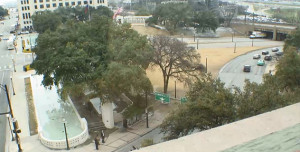 Dealey Plaza and the triple underpass are seen from the southern windows on the Museum's sixth floor.