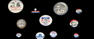 A collection of campaign buttons from JFK's 1960 presidential campaign.