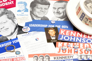 A collection of artifacts from JFK's 1960 presidential campaign.