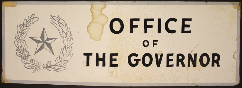 Office of the Governor sign that temporarily hung at Parkland Memorial Hospital Credit: Blanche Connally Kline Collection/The Sixth Floor Museum at Dealey Plaza
